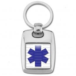 Porte Clés Rectangle Acier 2 Faces Croix de Vie Santé Ambulance