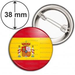 Badge 38mm Epingle Drapeau Espagne Espagnol Spain Flag Emblème