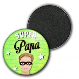 Magnet Aimant Frigo 3.8cm Super Papa - Homme Cheveux Chatains Masqué Fond Vert