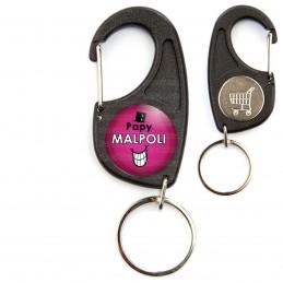 Porte-Clés Mousqueton Jeton Caddie Papy Malpoli - Fond violet