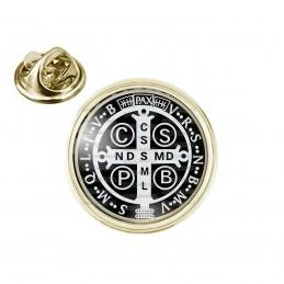 Pin's rond 2cm doré Croix de Saint Benoit Noir et Blanc Exorcisme Benediction